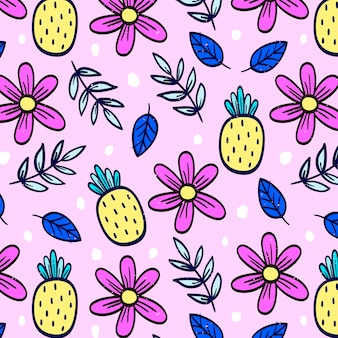 Patrón floral rosa con piñas