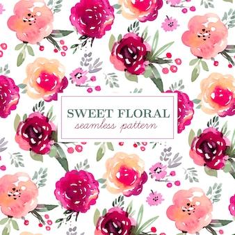 Patrón floral sin fisuras en colores marsala