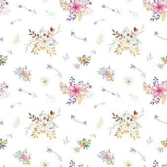 Patrón floral tipi acuarela.