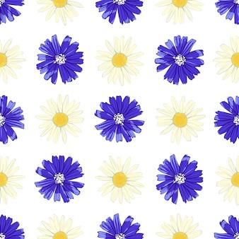 Patrón floral transparente con achicoria y manzanilla.
