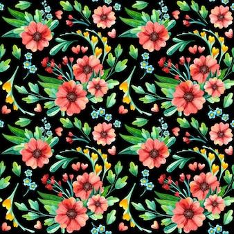 Patrón floral transparente, acuarela botánica.