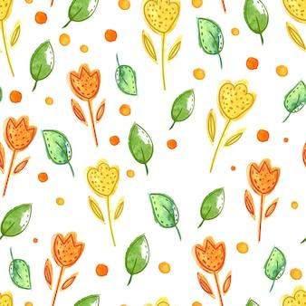 Patrón floral transparente con acuarela hojas verdes y flores fondo de vector artístico