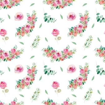 Patrón floral transparente de acuarela rosas rosadas, ramas de eucalipto y vegetación