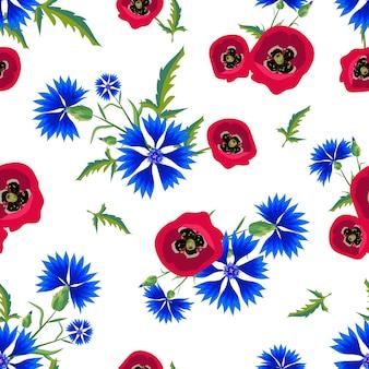 Patrón floral transparente con amapolas rojas y acianos azules.