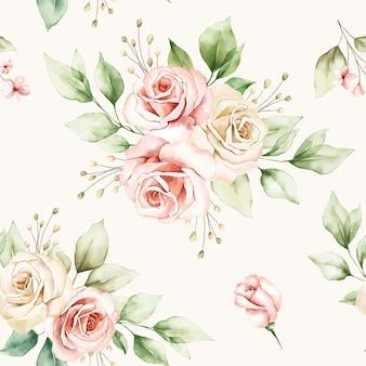 Patrón floral transparente de arreglos florales