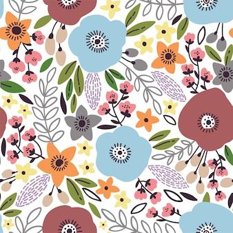 Patrón floral transparente de belleza con amapolas, hojas y flores.