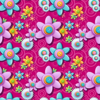 Patrón floral transparente de botones