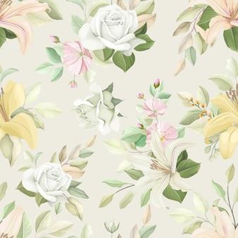 Patrón floral transparente con color suave