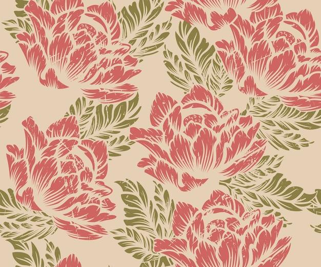 Patrón floral transparente coloreado sobre un fondo claro. ideal para imprimir sobre tela.
