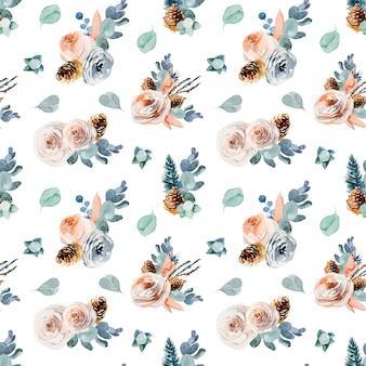 Patrón floral transparente con composiciones de flores vintage