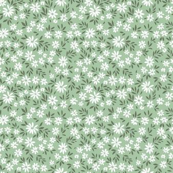 Patrón floral transparente para el diseño pequeñas flores blancas fondo verde claro estampado floral