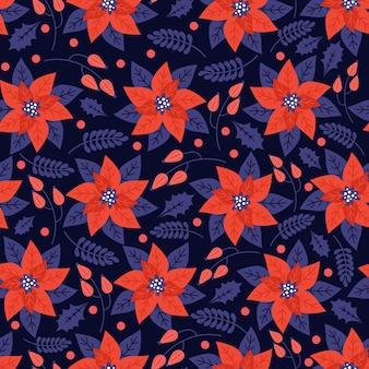 Patrón floral transparente con elementos naturales navideños, flor de pascua, hojas de acebo, frutos rojos