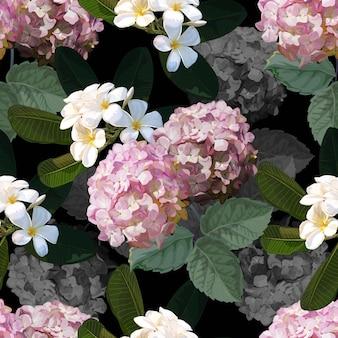 Patrón floral transparente con flor de plumeria y hortensia