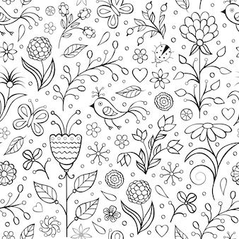 Patrón floral transparente con flores abstractas