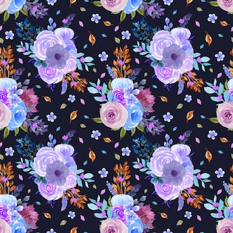 Patrón floral transparente con flores azules y púrpuras