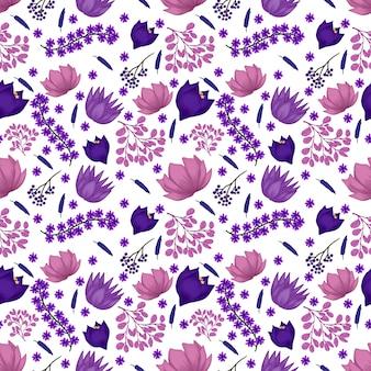 Patrón floral transparente con flores de color púrpura