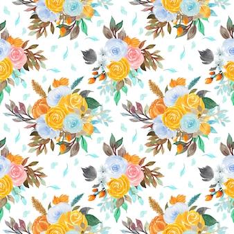 Patrón floral transparente con flores de colores