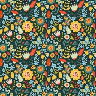 Patrón floral transparente con flores doodle.