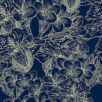 Patrón floral transparente con flores exóticas