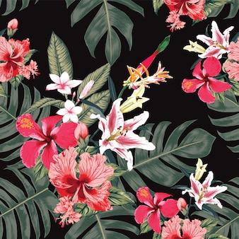 Patrón floral transparente flores de hibisco, frangipani y lirio de fondo abstracto.