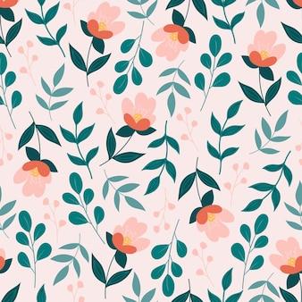 Patrón floral transparente con flores y hojas