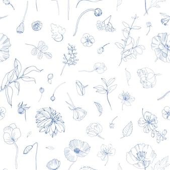 Patrón floral transparente con flores de jardín florecientes dispersos