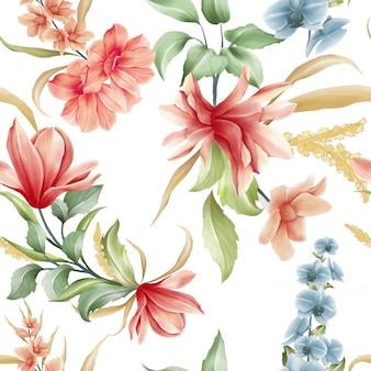 Patrón floral transparente de flores de magnolia y orquídea