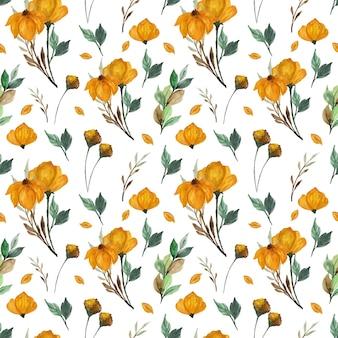 Patrón floral transparente con flores de otoño