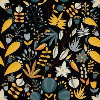 Patrón floral transparente con flores y plantas en fondo negro. ilustración de vector tropical