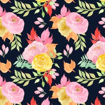 Patrón floral transparente con flores rosas y amarillas.