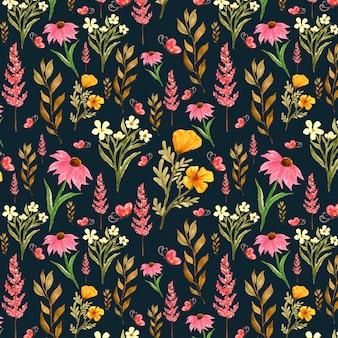 Patrón floral transparente con flores silvestres