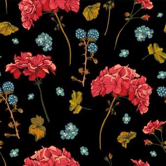 Patrón floral transparente con geranios en flor