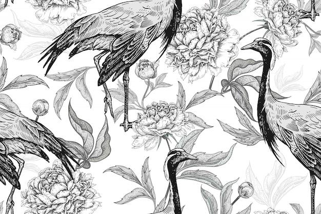 Patrón floral transparente con grúas y flores de peonías. en blanco y negro.