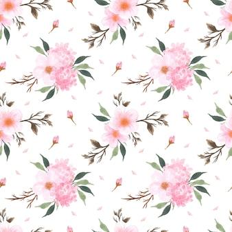 Patrón floral transparente con hermosa flor de cerezo japonés sakura rosa