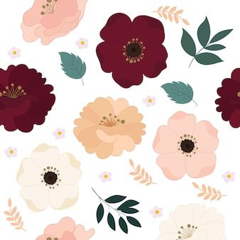 Patrón floral transparente con hermosas flores.