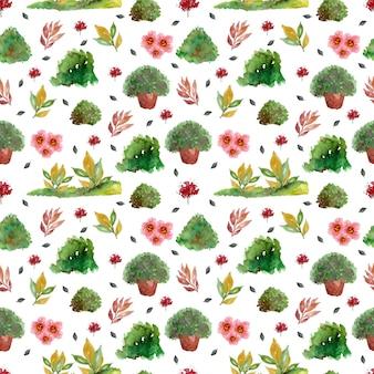 Patrón floral transparente con hermoso jardín