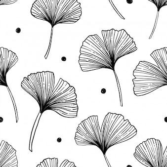 Patrón floral transparente con hojas de ginkgo