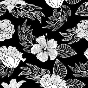 Patrón floral transparente con hojas tropicales, fondo tropical