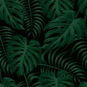 Patrón floral transparente con hojas tropicales