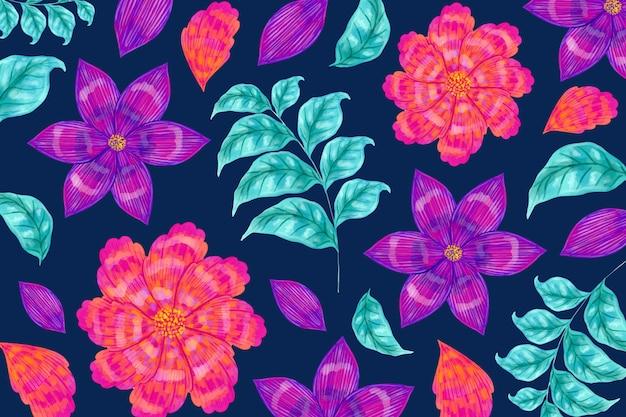 Patrón floral transparente y hojas