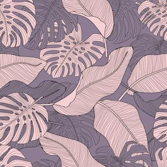 Patrón floral transparente con hojas