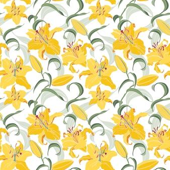 Patrón floral transparente con lirios amarillos
