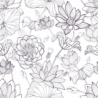Patrón floral transparente de loto. dibujado a mano de fondo monocromo.