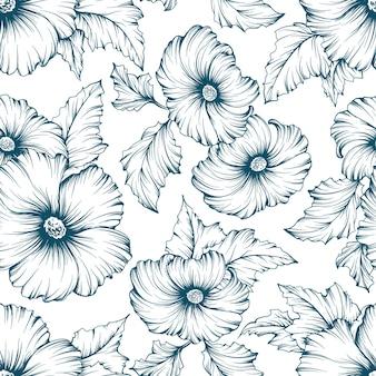 Patrón floral transparente monocromático. esquema de fondo dibujado a mano de flores de malva.