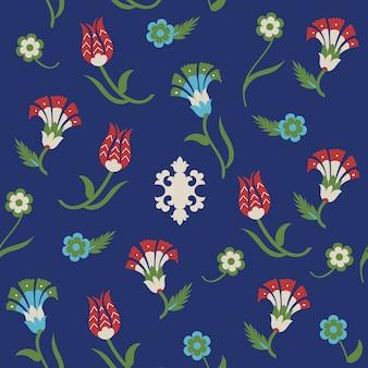 Patrón floral transparente con motivos turcos. .