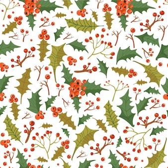 Patrón floral transparente de navidad con hojas de acebo y bayas.