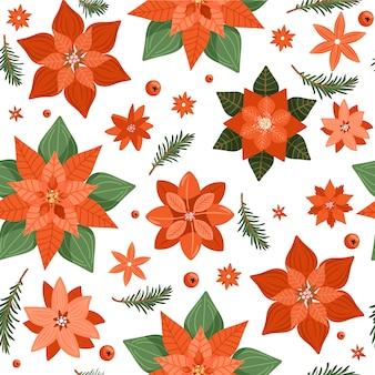 Patrón floral transparente de navidad.