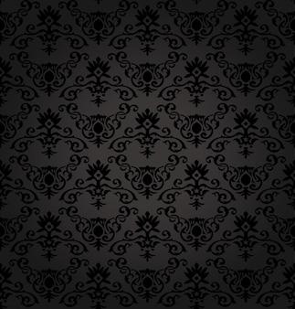 Patrón floral transparente negro