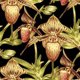 Patrón floral transparente con orquídeas.