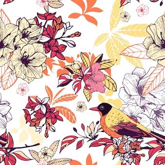 Patrón floral transparente con pájaro